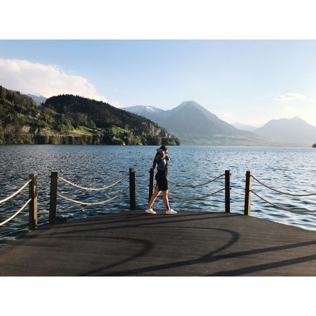 Switzerland Full Length One Person Railing Water Day Nature Standing Sky Scenics Beauty In Nature Outdoors Mountain Lifestyles Sunlight