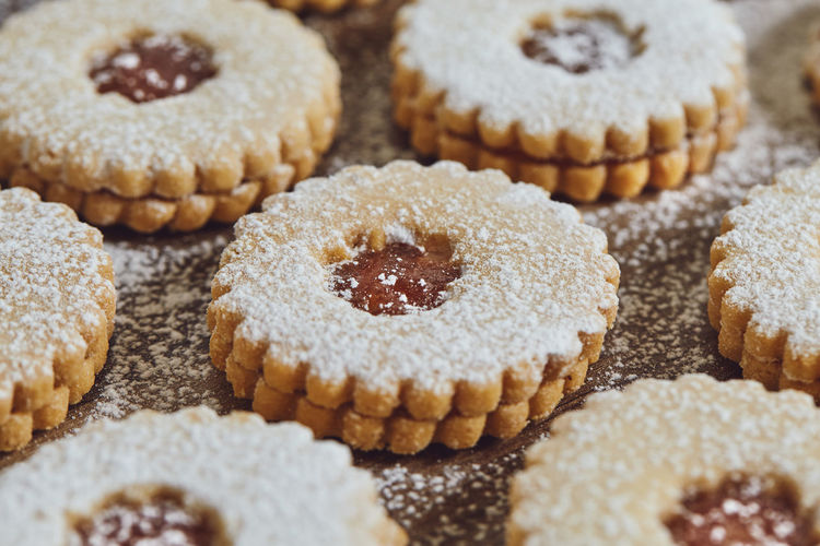 Close-Up Of Powdered Sugar On Cookies