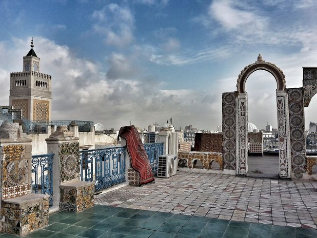 The magic carpet has landed on the rooftops of the Medina Urban Landscape Sky And Clouds Magic Outdoors Cityscape Terrasse Colourful Oriental Carpet View From The Top Mosque Arabic Style Turquoise Arabesque Emotions In A Picture EyeEm Selects The Week On EyeEm Scenic Landscape Fine Art Photography Architecture Decorations Arched Portal Medina Travel Photography