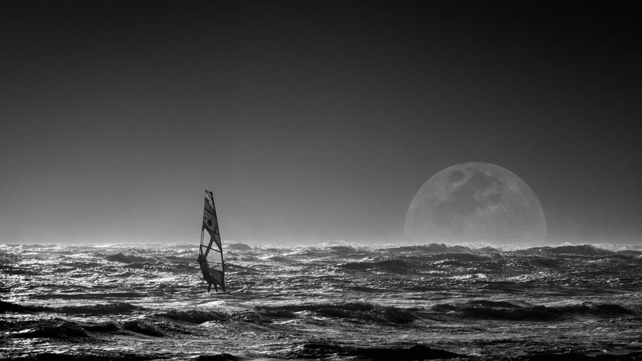 Windsurfing and the moon