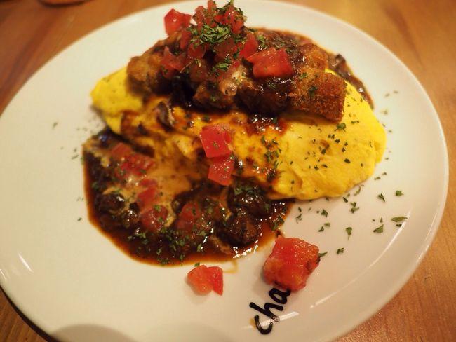 Kyoto Japan Kawaramachi Cham Dinner Food Omelette Egg Olympus PEN-F 京都 日本 河原町 オムライス 卵 夕食