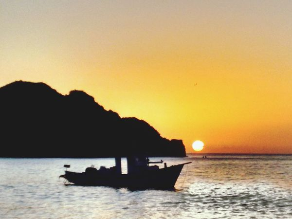Morro de Fora Sunset Silhouette Sea Mountain Nature Scenics Tranquility Outdoors Nautical Vessel Beauty In Nature No People Tranquil Scene Beach
