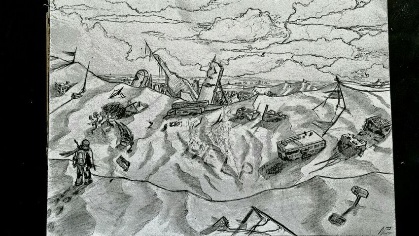 Drawing Sky And Clouds Ancient Ruines Alone Ornot Whitoutcolor Zaap'sdraws