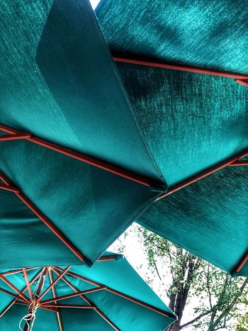 Covered... Low Angle View Day Nature Blue Umbrella Protection Security Pattern Close-up