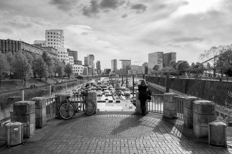 Düsseldorf, Germany, Medienhafen Alleine Alone Alone Time Architecture Backlit Backlit Sunset Boats Boote City City Life Deutschland Düsseldorf Gegenlicht Germany Hafen Harbour Medienhafen NRW Outdoors Shadow