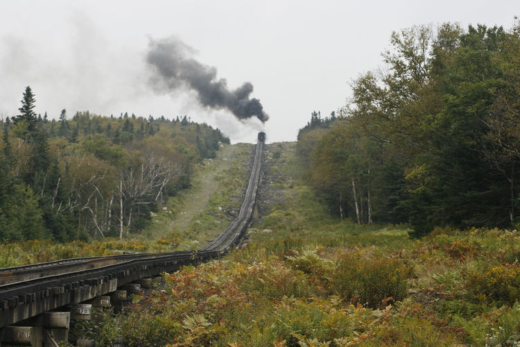 Panoramic view of railroad track amidst trees against sky