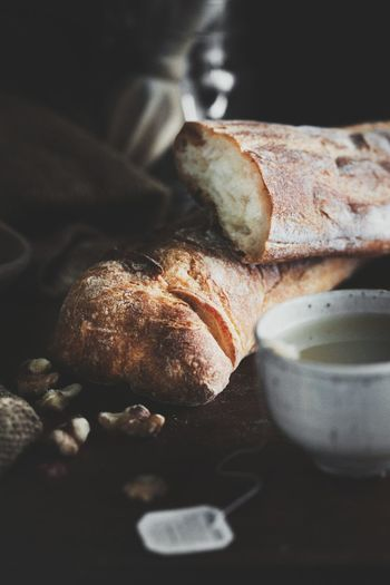 Close-up of french bread on table