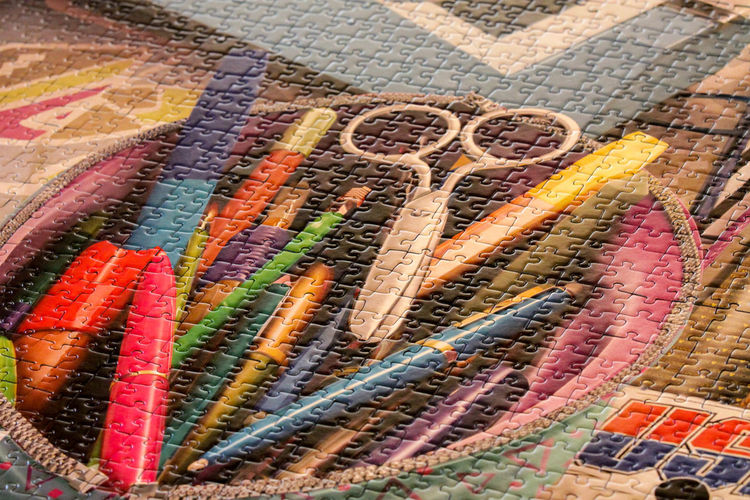 Ravensburgerspiele Scissors Art And Craft Backgrounds Chalk - Art Equipment Choice Close-up Craft Crayon Creativity Full Frame High Angle View Large Group Of Objects Multi Colored No People Pattern Pen Pencil Puzzle  Ravensburgspielt Still Life Variation