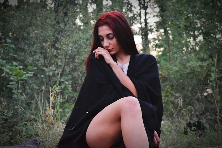 Red Beauty Forest Young Women Tree Nature Women Portrait Girl Woman In Forest Redhead Only Women Be. Ready.