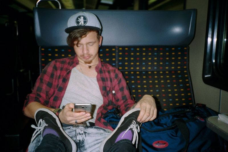 EyeEm Selects Sitting Transportation Travel One Person Cap Only Men One Man Only Vehicle Seat Relaxation Adult Indoors  People Adults Only Night Airplane Seat Analogue Photography Filmisnotdead Dia Boy Men Smart Phone Feet
