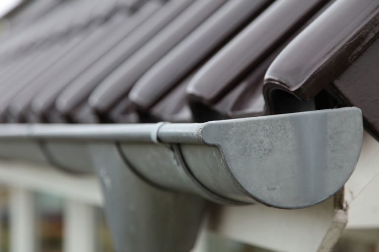 Close-up of gutter on roof