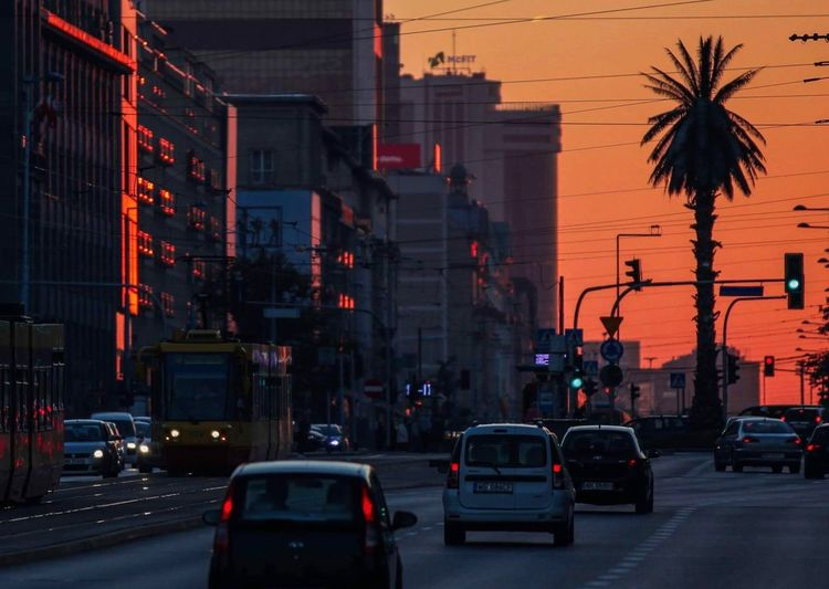 Cars on road in city during sunset