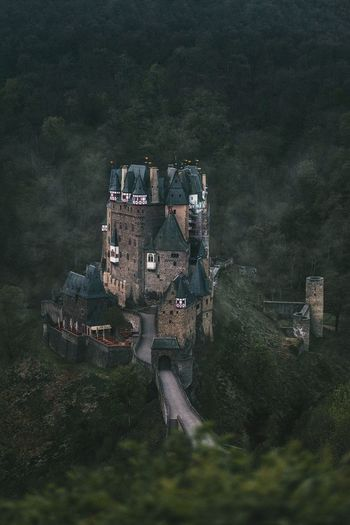 High angle view of old ruin building