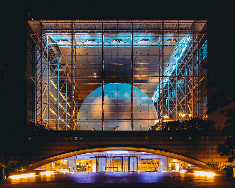 Architectural Feature Architecture Blue Building Engineering Exterior Hayden Planetarium Illuminated Low Angle View Modern Multi Colored Museum New York New York City Night No People NYC Orange Outdoors Planetarium Tourism Travel Travel Destinations Traveling Pivotal Ideas