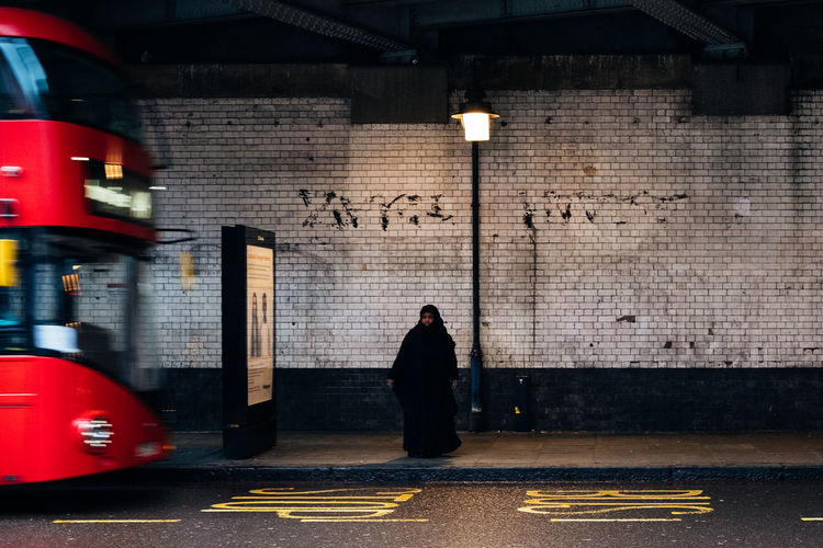 Quiet Fujifilm_xseries Streetphotography London City One Person Transportation Architecture Full Length Street Real People Illuminated Lighting Equipment Men Wall - Building Feature Built Structure Text Sign Walking Adult Night Rear View Mode Of Transportation Brick Outdoors
