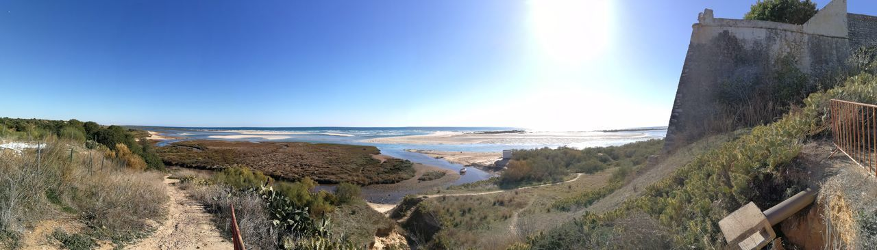 Panoramashot Cacela Velha Portugal Sand Horizon Over Water Water Nature Travel Destinations Sunlight Beauty In Nature Outdoors No People Clear Sky