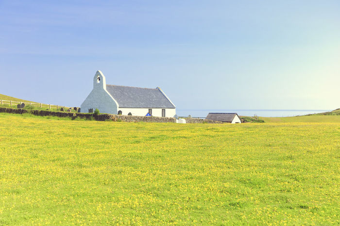 Mwnt church on a summer's day Architecture Blue Ceredigion Church Coast Hill Idyllic Landscape Mwnt Nature No People Outdoors Remote Scenics Sea Sky Summer Tranquil Scene Tranquility Travel Destinations Wales First Eyeem Photo
