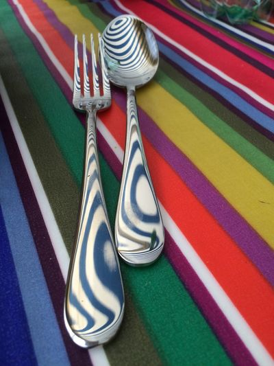 Close-up of multi colored table