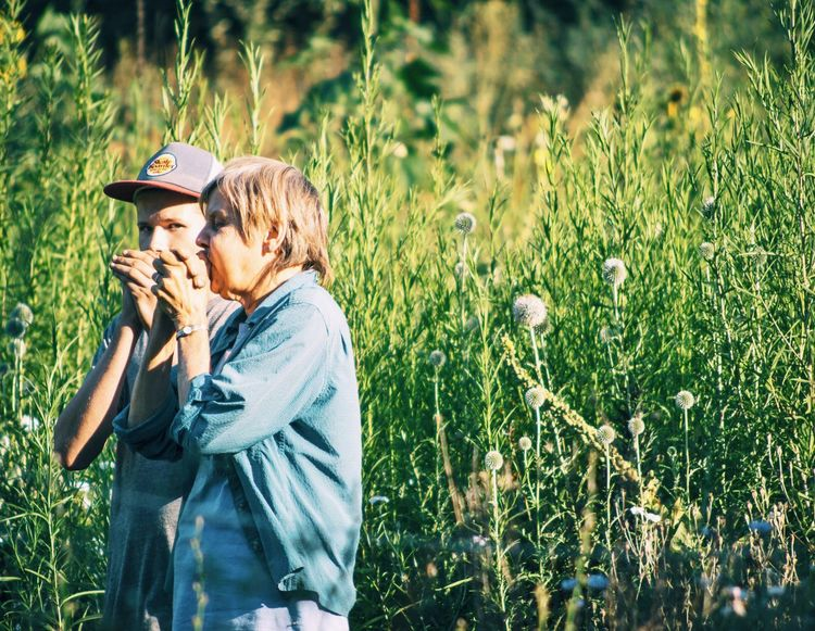 Two People Love Adult Adults Only People Beauty Outdoors Only Women Nature Day Bird Call Animal Sounds Enjoy The New Normal Rural Poetry Sound Effects Garden