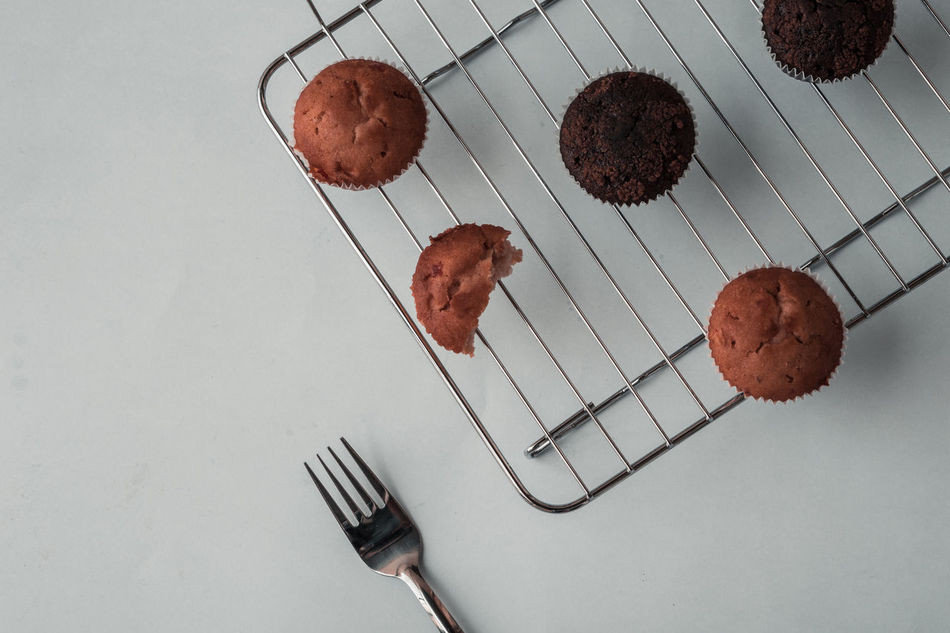 Let's Have Some Muffins! Breakfast Chocolate Cooking EyeEm Best Shots EyeEm Gallery EyeEmNewHere Fork Close-up Eye4photography  Food Food And Drink Freshness High Angle View Indoors  Indulgence Muffins Studio Shot Sweet Food Temptation White Background