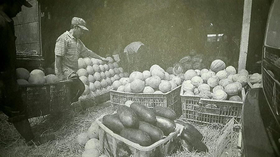 Capturing original picture (Kompas/Raditya Helabumi) on page 28th of Kompas Daily Newspaper (10/15/15). Pekerja Memindahkan Buah-buahan بواه٢ن Grosir
