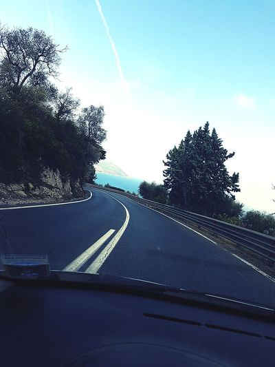 Liguria Italia Mare Strada Street Way Route Car Interior Road Driving Guidare Road Trip Travel Viaggio Viaggiare Viaje Manejar Car Macchina Peugeot206 Car Point Of View Vehicle Interior Tree Alberi No People