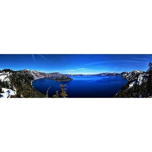 Snowy Crater Lake during it's spring thaw. Lake Craterlake Nationalpark Spring Pacificnorthwest PNW Panoramic Island Wizardisland Nature Hiking Sky Perfectday Clouds Nexus6 Roadtrip Oregon Bluewater