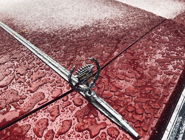 Snowfalls on Cadillac Snow Lovephotography  Cadillac DeVille Getting Inspired Passion Getty Images No People High Angle View Pattern Day Court Nature Backgrounds Metal Street Footpath Red Full Frame Textured  Close-up Sport Protection Outdoors Road Security Flooring