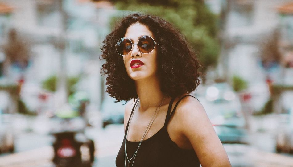 Beauty One Woman Only One Person Beautiful People Mouth Open People Sunglasses Females Beautiful Woman Outdoors Portrait Close-up Street Photographing Day Nature Photography Themes Road