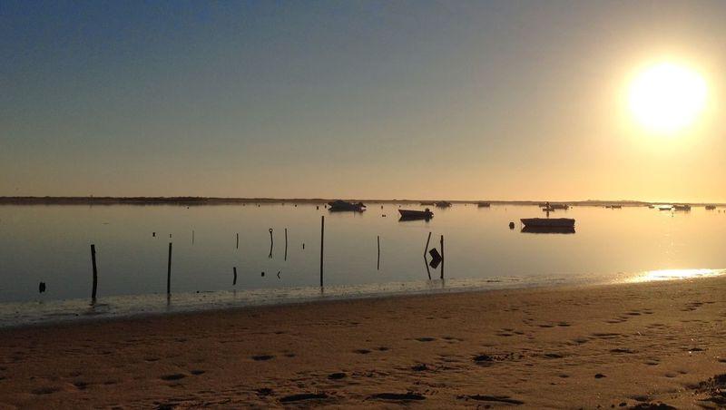 Calm Coastline Nature Sea Sunset Tranquility Water Cacela Velha Portugal