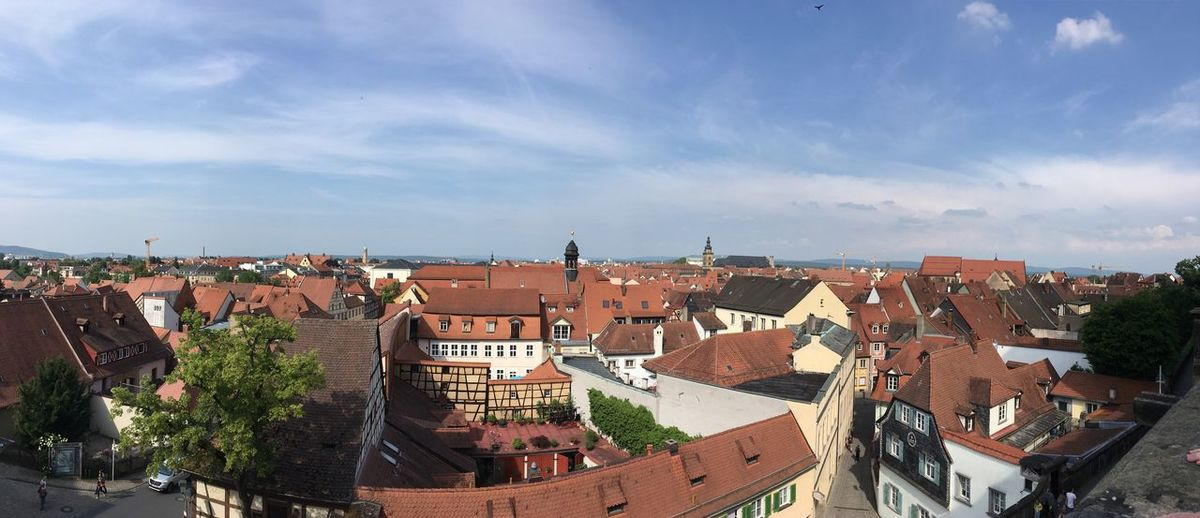 Bamberg Panorama Bamberg  Flowers Panorama Bluesky Germany Bamberg  Bayern Roses Architecture Built Structure Building Exterior City Sky Cloud - Sky Building Residential District Nature Roof Day High Angle View Plant No People Tree House Cityscape Town Outdoors TOWNSCAPE