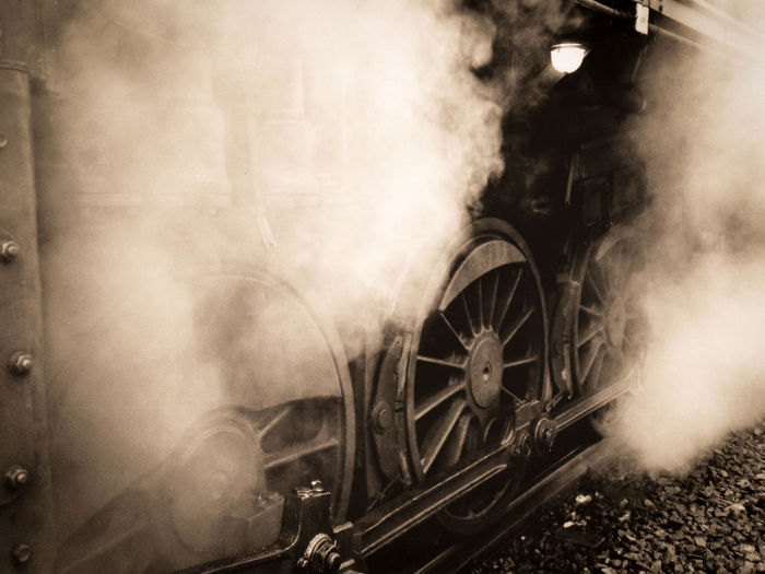Antrieb Dampf Dampflok Moment Photography Nostalgie Background Photography Metal No People Old Old Black And White Pic Smoke - Physical Structure Steam Train Transportation Wheel