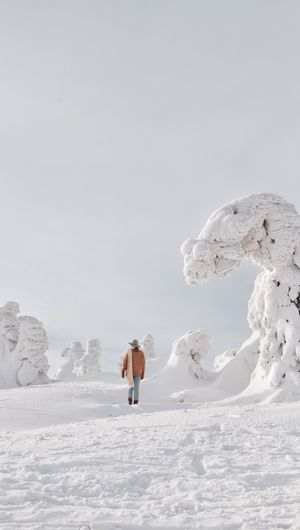 Person on snow covered land against sky