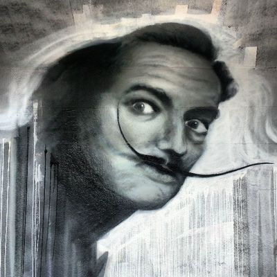 Mastrocola Portrait Dalí Spraypaint blackandwhite practice keep pushing montreal