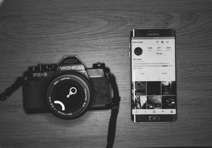 Old to new Camera - Photographic Equipment Black & White Blackandwhite World Photography Themes Retro Styled Film Industry Indoors
