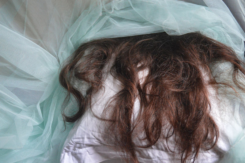 High angle view of human hair relaxing on bed