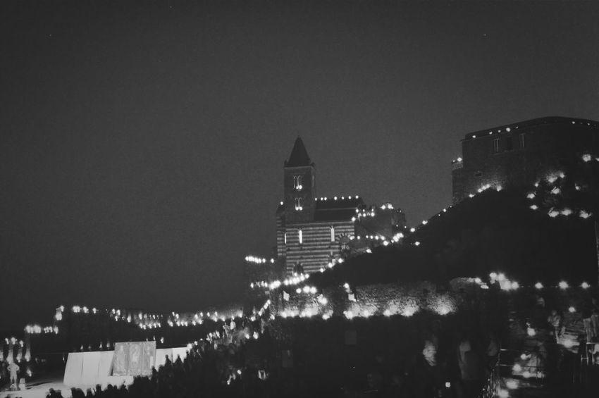 17 agosto portovenere stupenda di notte tutta illuminata con i lumini . Monochrome Liguria Portovenere