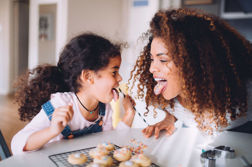 5 Years Old Afro Children Cookies Cooking Fun Happiness Happy Home Kids Life Mother Tongue Out Afrohair Baking Child Childhood Daughter Dough Girl Kid Kitchen Little Girl Pulling Faces  Togetherness This Is Family