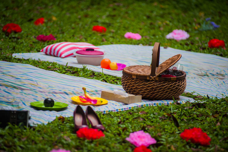 High Angle View Of Picnic Basket On Blanket Over Grass At Park
