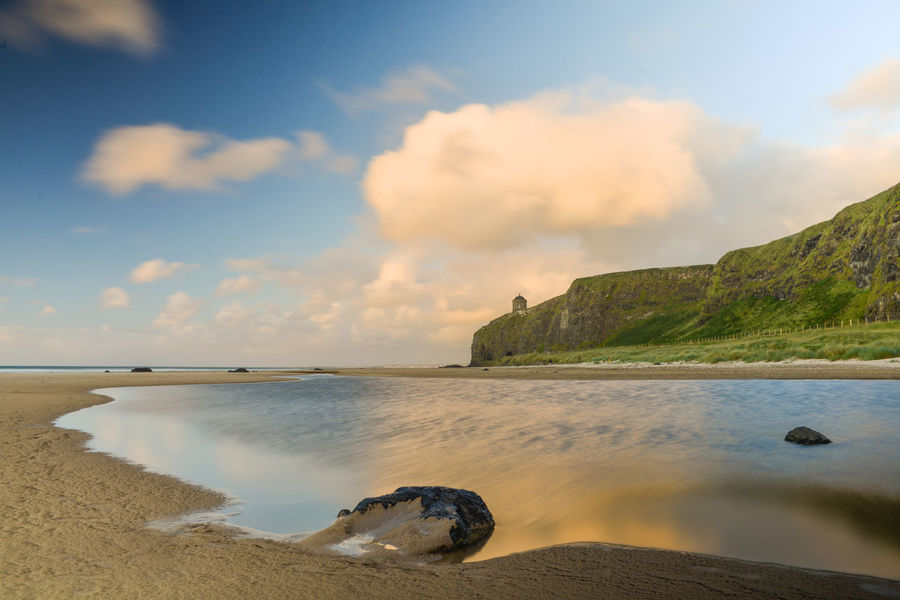 Beach Beauty In Nature Cloud - Sky Day Downhill Horizon Over Water Londonderry Mussenden Temple Nature No People Outdoors Reflection Reflections In The Water Scenics Sea Sky Tranquil Scene Tranquility Water
