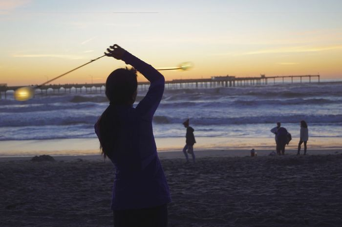 Adult Beach Beachgoers Beachphotography Day Outdoors People Pier Poi Spinning San Diego Sea Silhouette Sunset Water