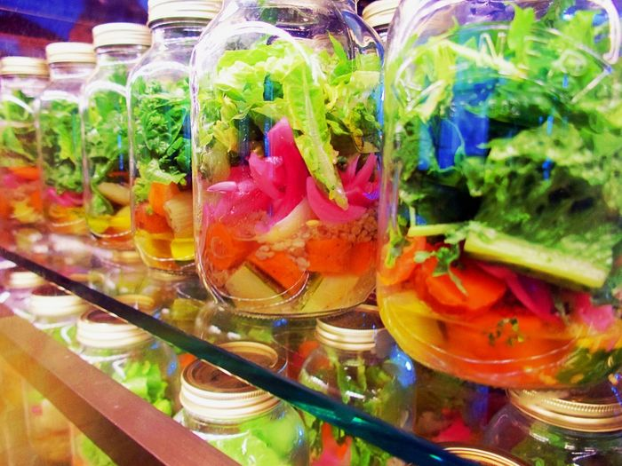 Salad In A Jar Close-up Day Food Food And Drink Freshness Healthy Eating Indoors  Multi Colored No People Ready-to-eat Variation Vegetable
