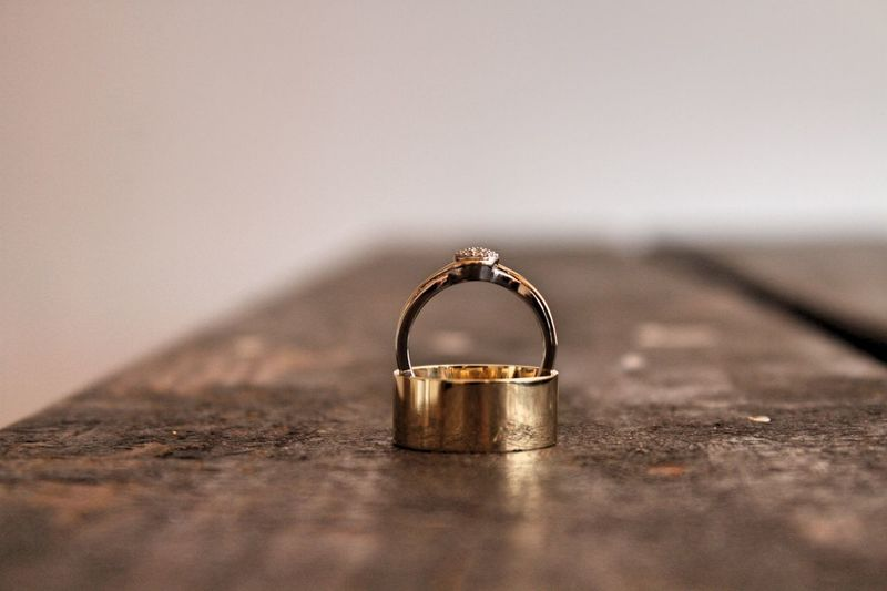 Wedding Wedding Band Rings Vow Table Up Close Street Photography