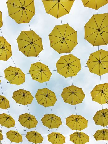 Umbrellas Yellow Sky Looking Up Look Up Protection Pattern Over My Head Yellow Umbrella