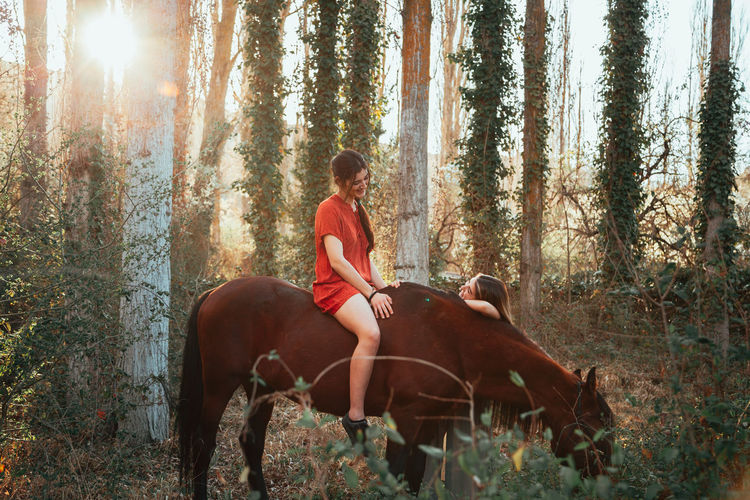 Man riding horse in forest