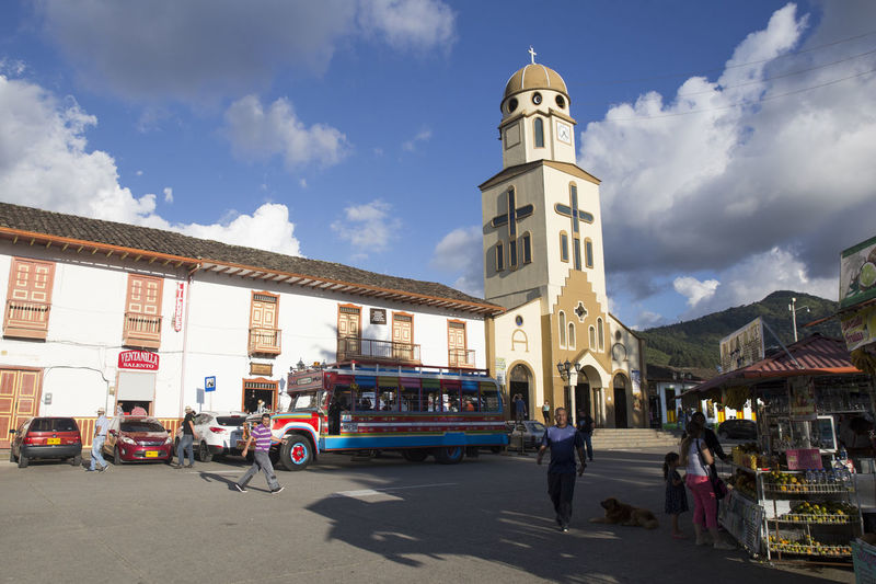 Scenes from the main square in Salento, Quindio. Salento is the main tourist hotspot in Colombia's coffee region. Colombia Architecture Building Exterior Built Structure Coffee Region Day Land Vehicle Outdoors Salento Sky Transportation