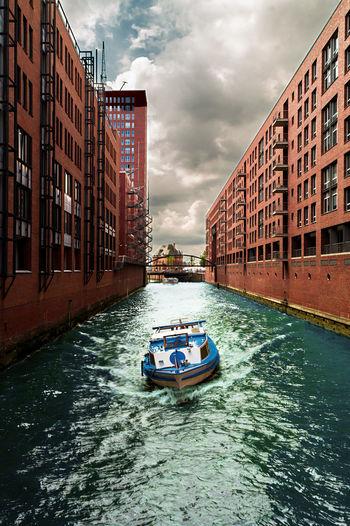 Boat on canal in hamburg