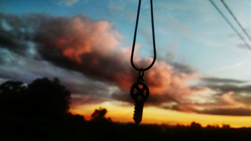 Hanging Sunset Sky Silhouette Dusk Outdoors No People