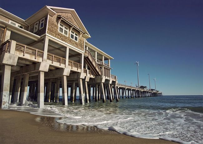 Sea Beach Water Sky Outdoors Architecture No People Built Structure Clear Sky Scenics Vacations Ocean Atlantic Atlantic Ocean Waves Pier Dock Ocean View North Carolina Outer Banks Outer Banks, NC OBX OBX North Carolina Nagshead Nags Head NC