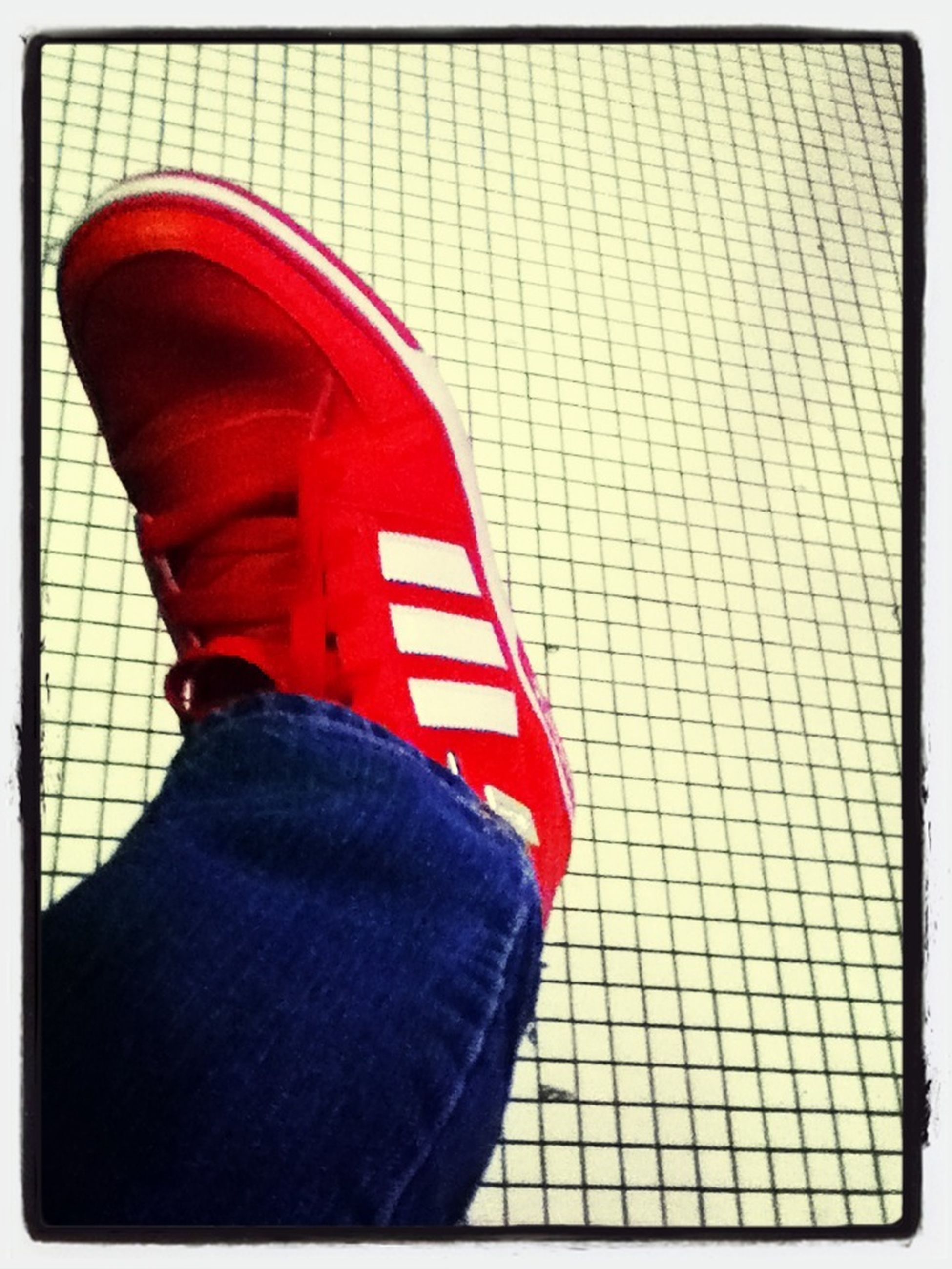 transfer print, red, auto post production filter, low section, shoe, person, close-up, indoors, protection, footwear, safety, day, high angle view, metal, standing, part of, canvas shoe